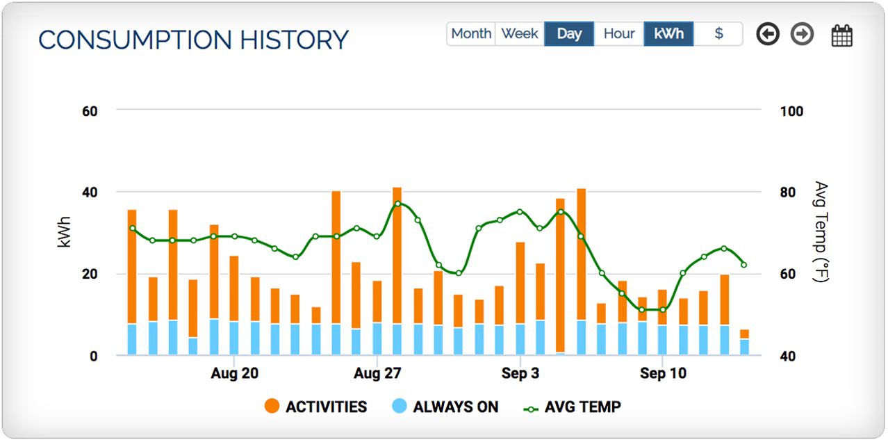 Real-time usage and historical trends
